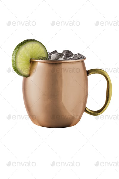 Refreshing Vodka Moscow Mule Cocktail on White
