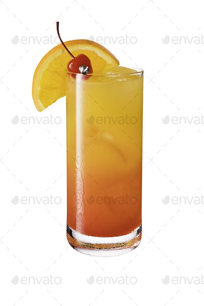 Refreshing Tequila Sunrise Cocktail on White