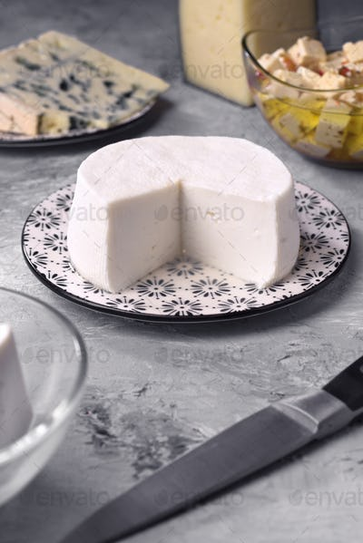 natural goat cheese and other types of cheese on gray marbled background