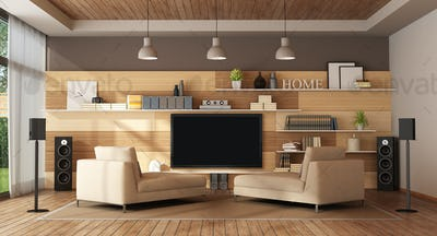 Modern living room with home cinema system - 3d rendering