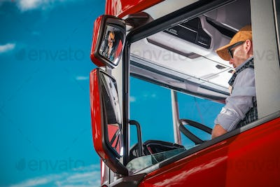 Truck Driver in the Cabin