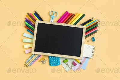 School supplies stationery equipment on color background with copy space, Back to school concept