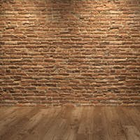 Interior with grey fridge and brick wall 3D illustration