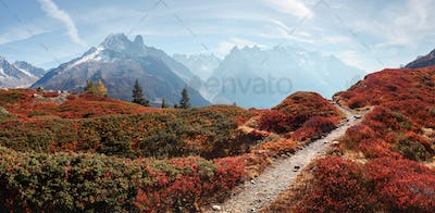 Amazing view on Monte Bianco mountains range with Monblan on background
