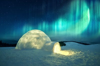 Wintry scene with glowing polar lights and snowy igloo