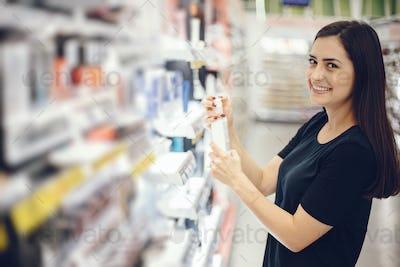 woman walks around the store