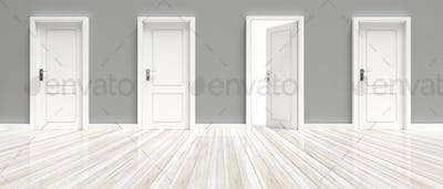 Closed and open doors on grey wall and white wooden floor background, banner. 3d illustration