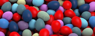 Easter preparation. Various colors eggs pile, texture background, banner. 3d illustration