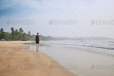 Lonely man on the beach