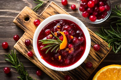 Cranberry sauce in a bowl top view