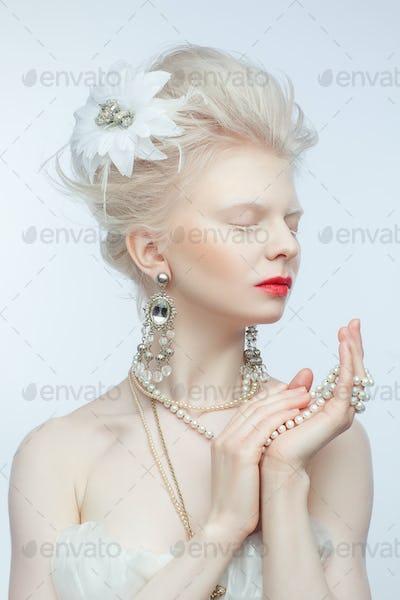 beautiful albino girl with red lips