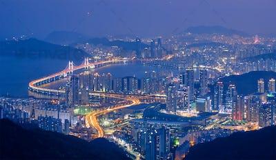 Busan cityscape Gwangan Bridge at night