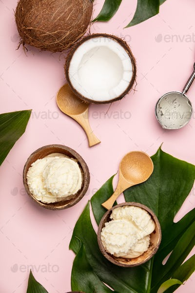 Creative flat lay with coconut ice cream and tropical plants