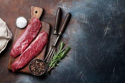 Raw top blade or denver steak