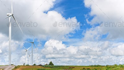 Landscape windmills field