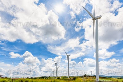 Landscape windmills under the sun