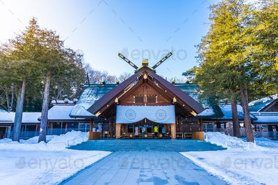 Beautiful architecture building temple of Hokkaido Shrine in Sap
