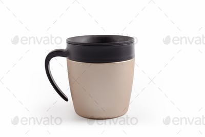 stainless steel coffee thermal mug isolated