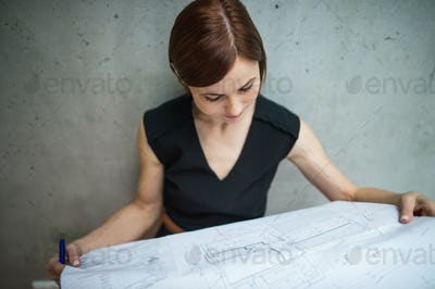 Young businesswoman or architect with blueprints standing in office.