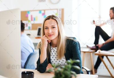 A portrait of young businesswoman sitting in a modern office.