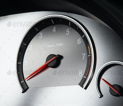 Close up shot of a speedometr in a car