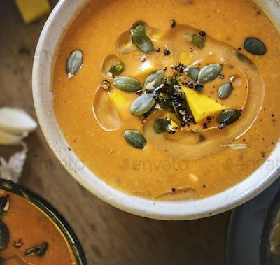 Pumpkin soup food photography recipe idea