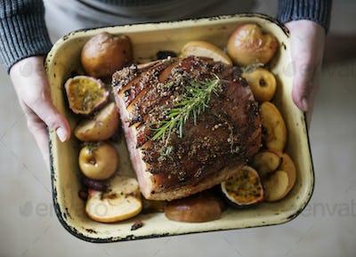 Baked ham food photography recipe idea