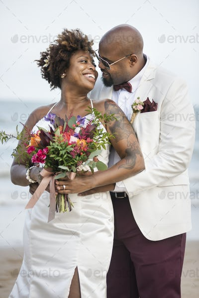 African American couples wedding day