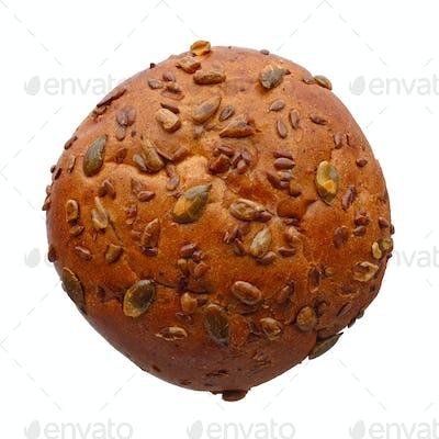 Single round multigrain bun