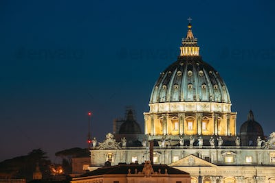 Rome, Italy. Dome Of Papal Basilica Of St. Peter In Vatican In E