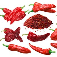 Aleppo peppers whole, crushed and dried, paths