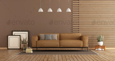 Modern Living room with sofa and wooden paneling