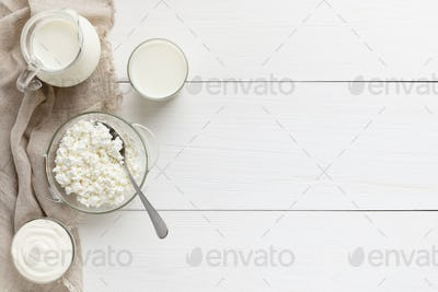 Dairy products composition, top view, copy space