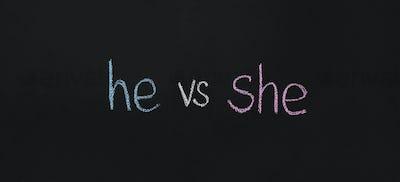 Words he vs she written on chalkboard