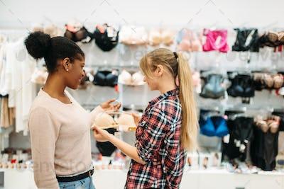Black and white women shopping, ladies lingerie
