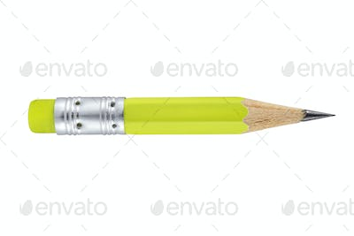 Small green pencil with eraser isolated