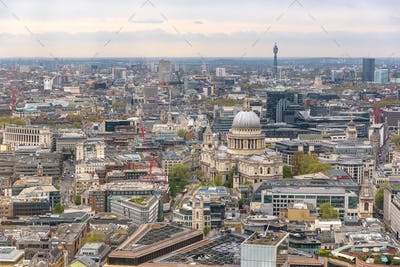 Aerial view of London downtown