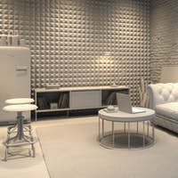 Interior of modern man living room with bar 3D rendering