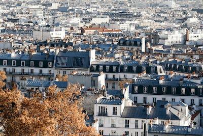 Beautiful panoramic view of Paris at Autumn. Vintage toned image.