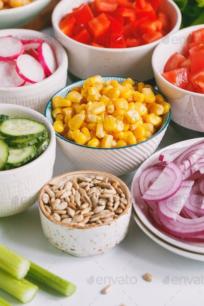 Ingredients for healthy vegetarian salad