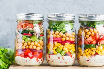 Three glass jars salad
