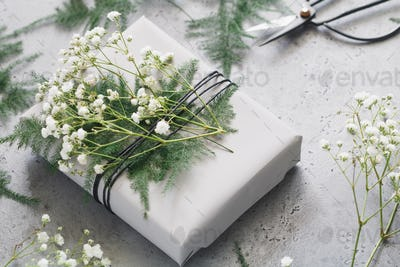 Wrapping gifts, florist workshop, photo set. Close up.