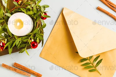 Top view on an golden envelope