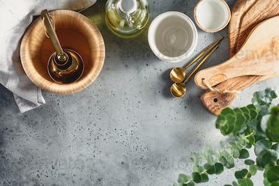 Modern kitchen metal and wooden utensils