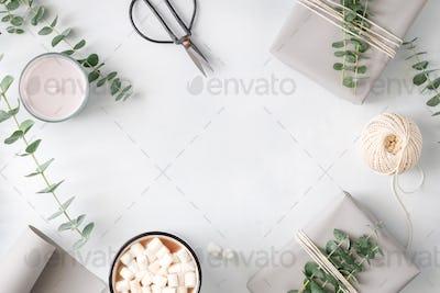 Lifestyle minimal frame white background
