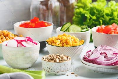 Assortment ingredients for healthy vegetarian salad