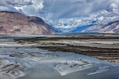 Nubra valley and river in Himalayas, Ladakh