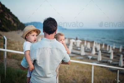 A rear view of father with two toddler children on beach on summer holiday.