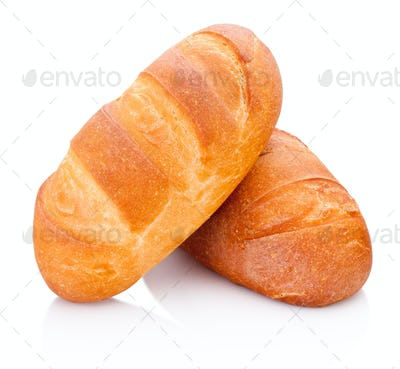 Two loaf of bread isolated on a white background