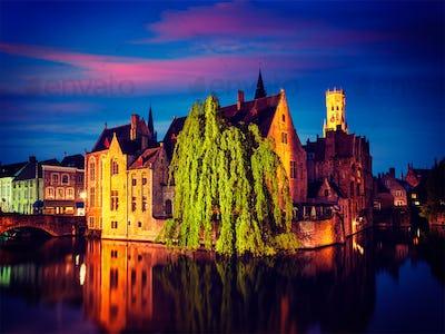 Bruges Brugge famous view, Belgium